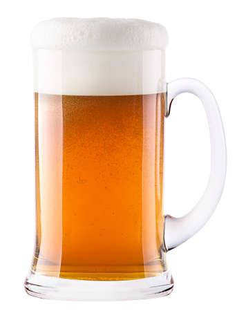 un bottled: Frosty glass of light beer isolated on a white background