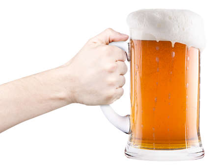 beer with man hand making toast isolated on a white background photo