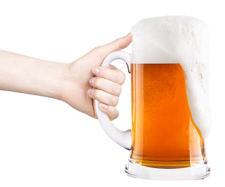 beer with woman hand making toast isolated on a white background photo
