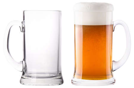 guinness: Beer glasses. full and empty isolated on a white background