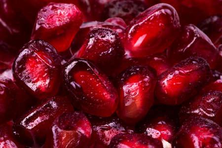 macrofoto van de Rijpe achtergrond van het granaatappelfruit Stockfoto