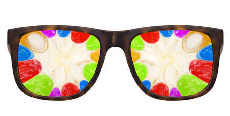 Trendy sunglasses with Abstract multicolored fruit  background photo