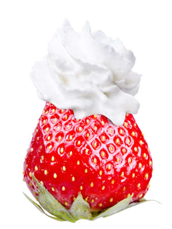 whipped cream: Whipped cream with tasty strawberry on a top isolated background