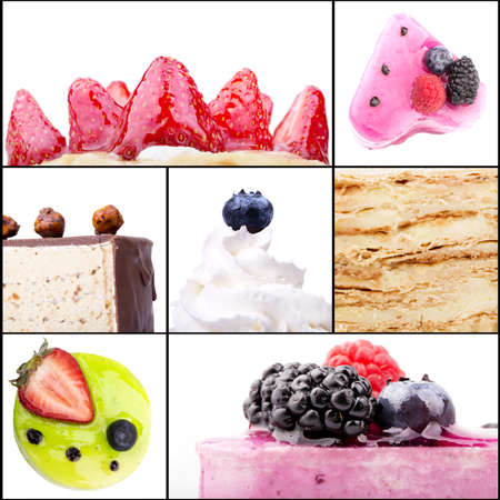 collage of tasty desserts closeup. Blue berries, strawberry, Whipped cream, cake, almond, filbert, orange,dried fruits, pomegranate photo