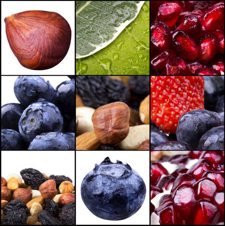 collage of tasty summer fruits closeup. Blue berries, strawberry,  almond, filbert, orange,dried fruits, pomegranate photo