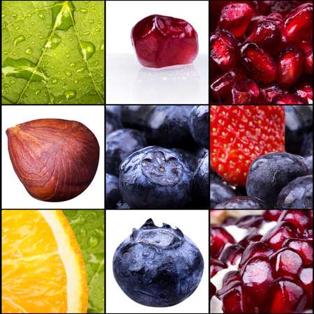 collage van smakelijke zomer fruit close-up. Blauwe bessen, aardbei, amandel, hazelnoot, oranje, gedroogd fruit, granaatappel Stockfoto