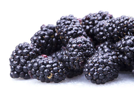 Fresh Ripe Blackberries with water drops macro background photo