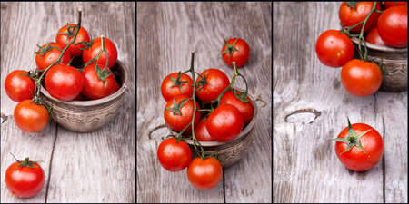 Cherry tomatoes on wooden table with water drops photo