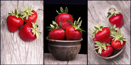 Fresh strawberries on wooden table macro background photo