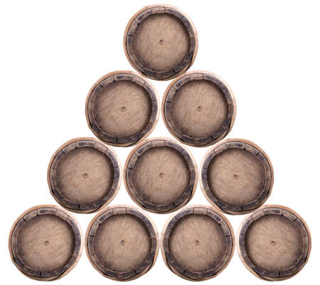 A group of wine barrels on a white background photo