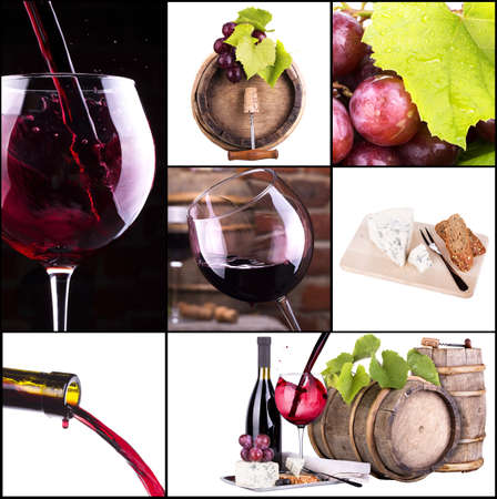collage vino con el barril, botella, copas, de uva photo