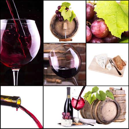 weinverkostung: Wein Collage mit Fass, Flasche, Weingl�ser, Trauben