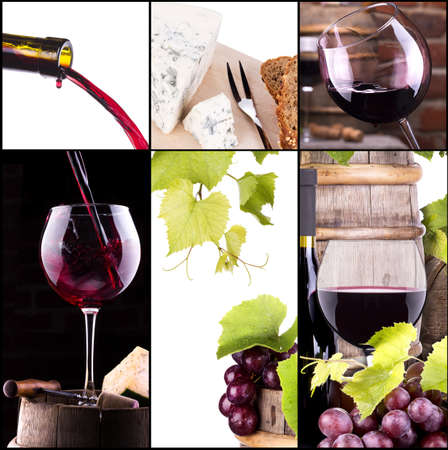 wine collage with barrel, bottle, wineglasses, grape