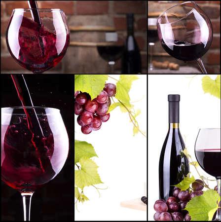 white wine bottle: collage vino con el barril, botella, copas, de uva Foto de archivo