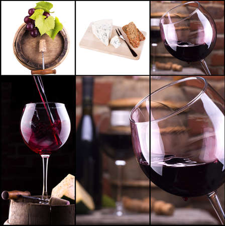 wine collage with barrel, bottle, wineglasses, grape photo
