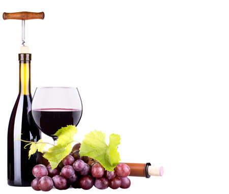 Ripe grapes, wine glass and bottle of wine isolated on white Stock Photo - 20454215