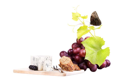food assortment for red wine with butterfly isolated on a white background photo