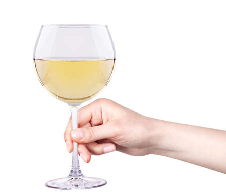 white wine glass with hand isolated photo
