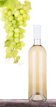grapes white wine and a bottle isolated photo