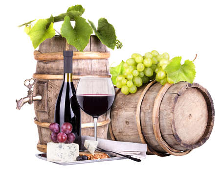 grapes on a barrel wine  and cheese photo