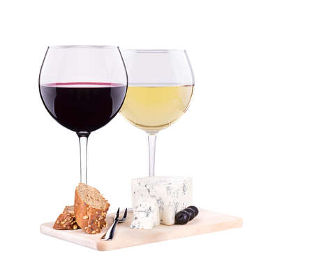 white and red wine  with cheese photo