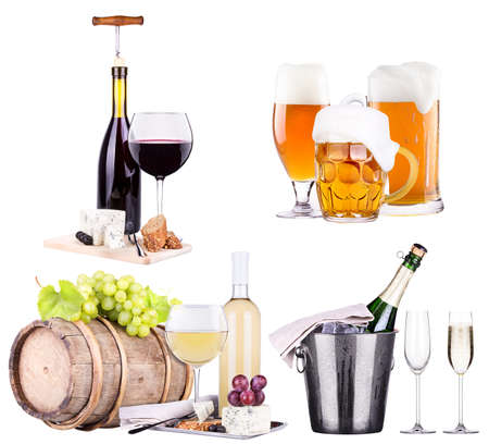 champagne, beer, red and white wine photo