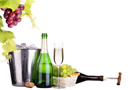 champagne and wine isolated photo