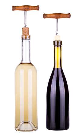 white wine bottle: botella de vino tinto y blanco con sacacorchos