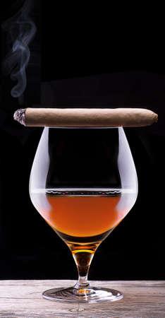 drunks: Cognac and Cigar on black