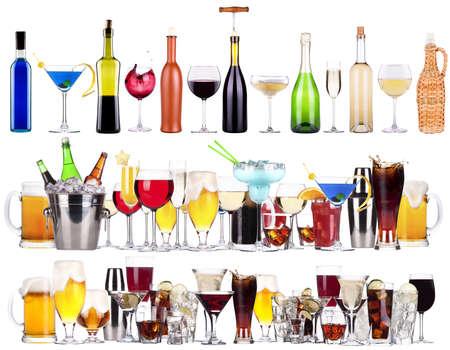 bier glazen: Set van verschillende alcoholische dranken en cocktails