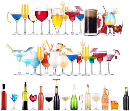 Set of different alcoholic drinks and cocktails photo