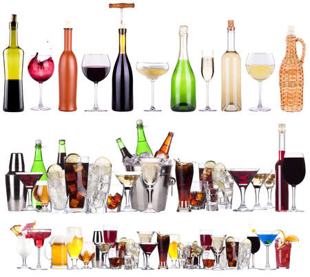 wine bottle: Set of different alcoholic drinks and cocktails
