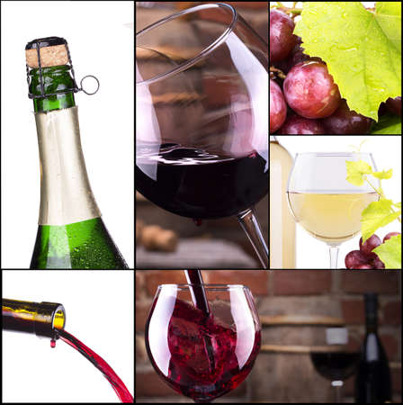 red and white wine with champagne collage photo