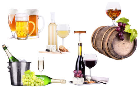 champagne, red and white wine,beer,brandy photo