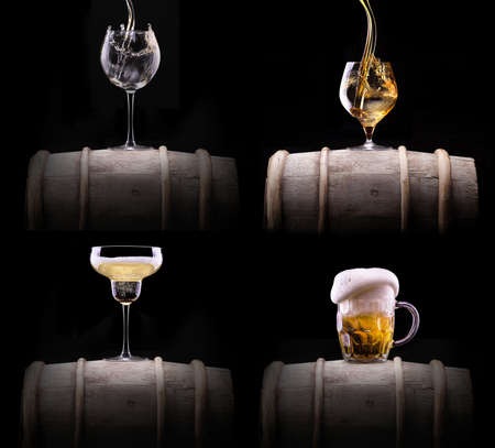 beer and wine: alcohol drinks set isolated on a black