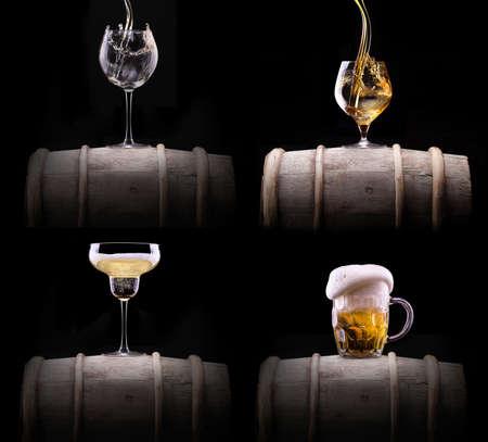 whiskey: alcoholdranken set geïsoleerd op een zwarte