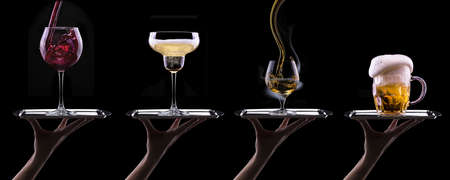 alcohol drinks set isolated on a black photo