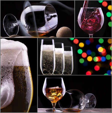 alcohol drinks collage isolated on a black photo