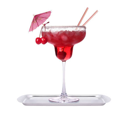 alcoholic exotic cocktail isolated on a white background photo