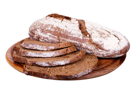 Bread on a wooden tray isolated over white background photo