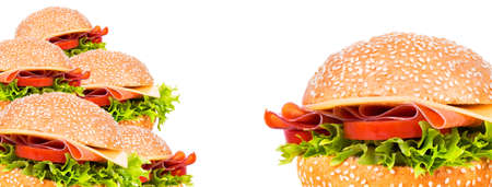 tasty burger background isolated on a white photo