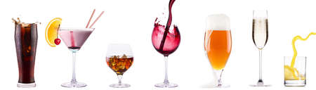 Set of different alcoholic drinks and cocktails - soda,cocktail,whiskey,wine,beer,champagne,juice photo