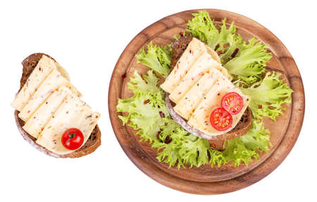 tasty sandwich with bread, vegetables, cheese and meat isolated on a white background photo