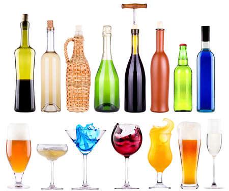 alcoholic drinks set with splash - cocktail, cola, beer, wine,champagne, juice