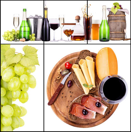 wine colour: Set of different alcoholic drinks and food - beer, martini, grapes, cheese, bread, burger, champagne, whiskey, wine, cola, cocktail Stock Photo