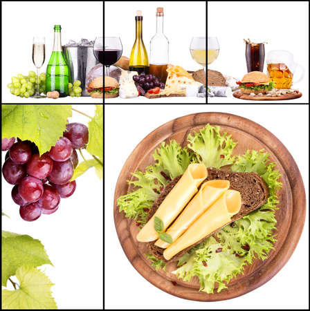 Set of different alcoholic drinks and food - beer, martini, grapes, cheese, bread, burger, champagne, whiskey, wine, cola, cocktail photo