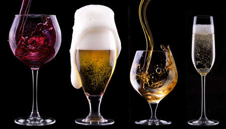 alcohol drinks set isolated on a black background - beer,wine,champagne,scotch photo