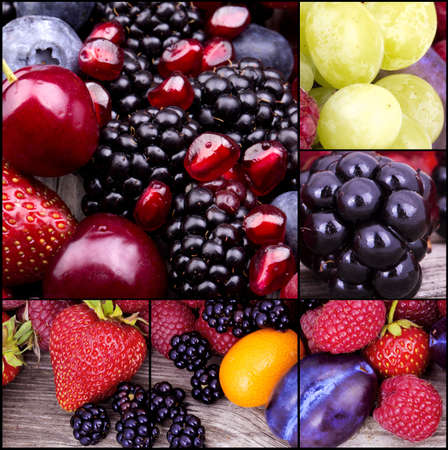 tasty summer fruits on a wooden table collage photo