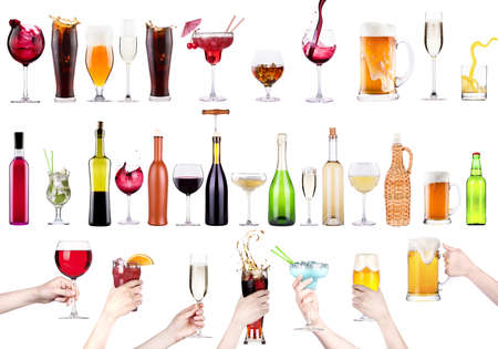 different images of alcohol isolated - beer,martini,cola,champagne,wine,juice photo
