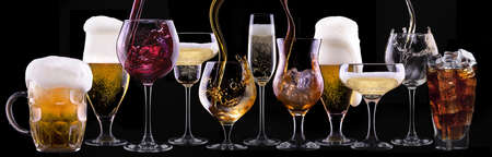 vermouth: different images of alcohol  - beer, martini, cola, champagne, wine, juice, scotch, whiskey